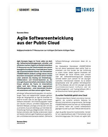 Dokument Seibert Media; Headline: Agile Softwareentwicklung aus der Public Cloud