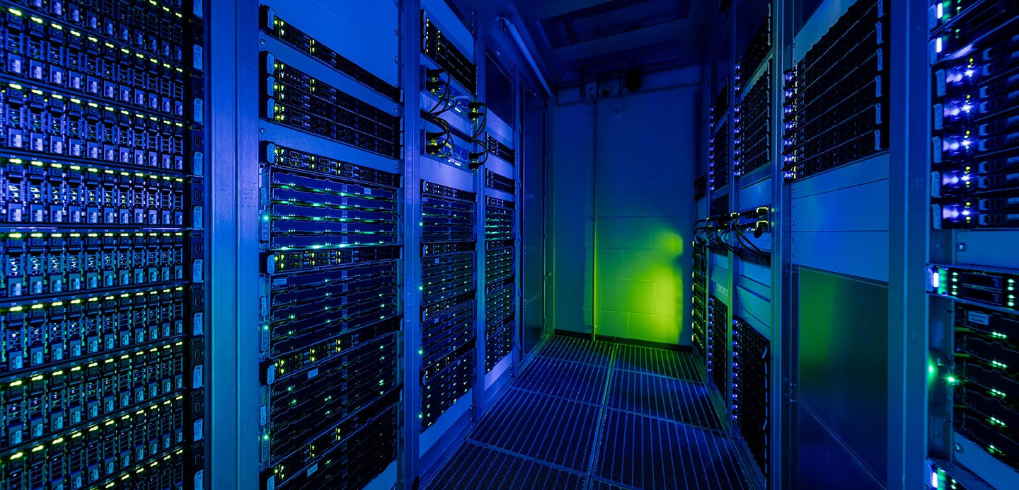 Data centre, lit blue and green