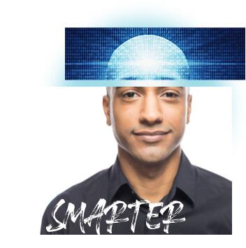 Collage: Profilbild eines Mannes; Zahlencode; Schriftzug Smarter