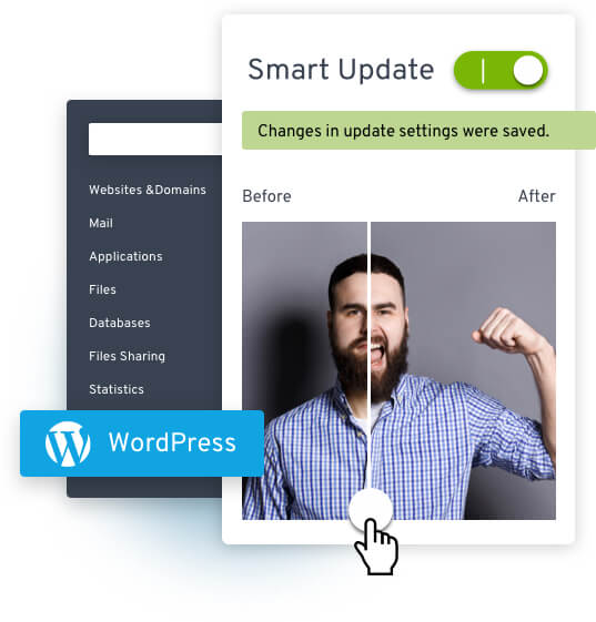 Collage: WordPress Logo; Dashboard mit Schrift Smart Update, Changes in update settings were saved; Mann mit Bart