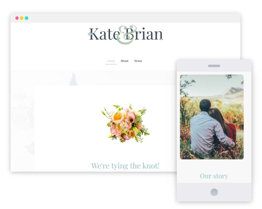 Screenshot from a wedding website; Photo of the bride and groom watching a sunset