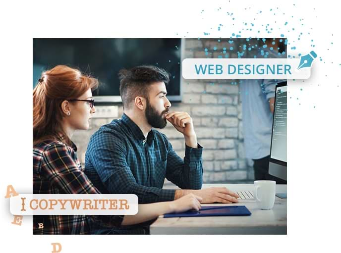 Copywriter and designer working together at a computer as part of the website design service