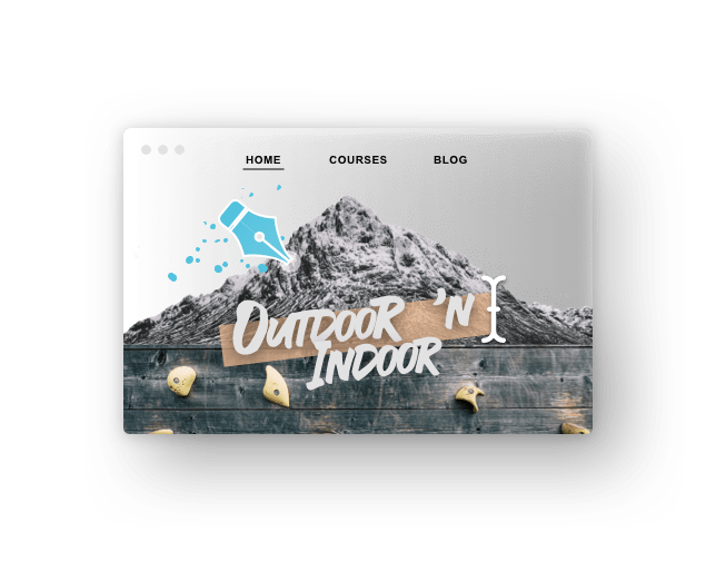 Screenshot Website; Berg und Text: Outdoor `n Indoor