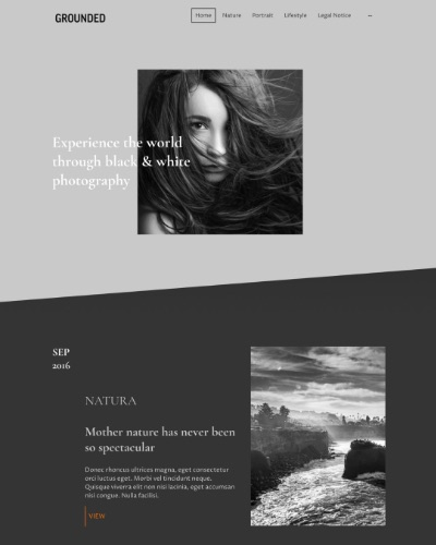 Screenshot of a portfolio website with black and white images