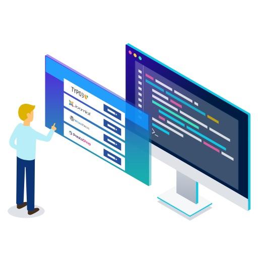 Grafische Darstellung: Mensch, der Content Management Systeme installiert