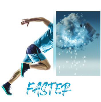 Collage: A sprinter getting ready to take off; A stormy cloud pouring numbers instead of rain; The word faster