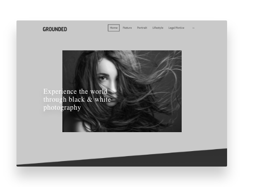 Screenshot from a MyWebsite portfolio template with black and white images