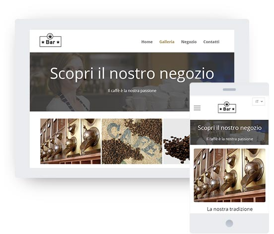 mywebsite template preview on a tablet and mobile device