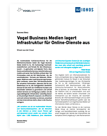 Document Vogel Media ; Titre : Vogel Medien externalise l'infrastructure des services en ligne