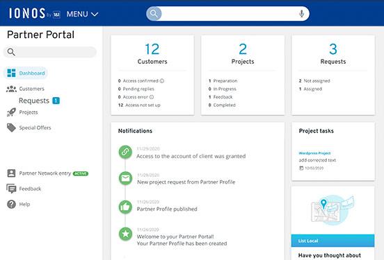 Partner portal dashboard