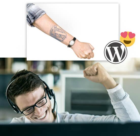 Collage: Mann mit Headset, der Faust in die Luft streckt; Arm mit tatöwierten WordPress Logo; WordPress Logo mit Smiley mit Herzchen-Augen