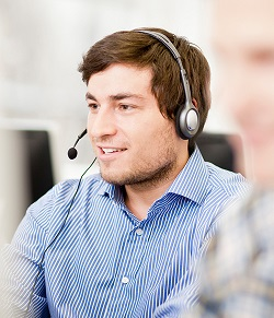 Close up portrait of man wearing a headset