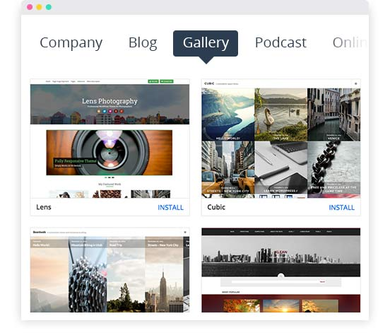 WordPress Bildergalerie; Template Fotografie