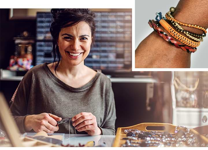 Collage: A jeweller in her shop surrounding by her products; a wrist adorned by various bracelets