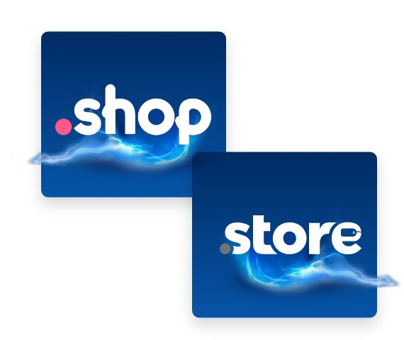 .shop and .store logos with lightning.