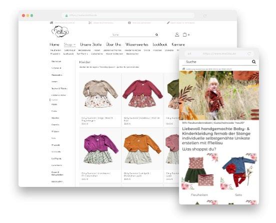 Responsive Design für mobile Endgeräte –Meilisu Online-Shop für selbstgenähte Baby- & Kinderkleidung, Kissen, Decken und vieles mehr
