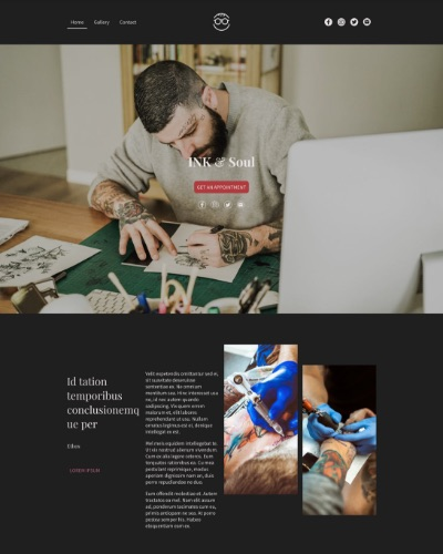 Screenshot of a portfolio website with images of a tattoo artist at work