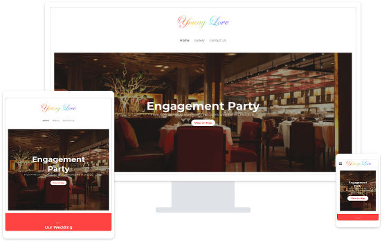 MyWebsite event website template on various end devices