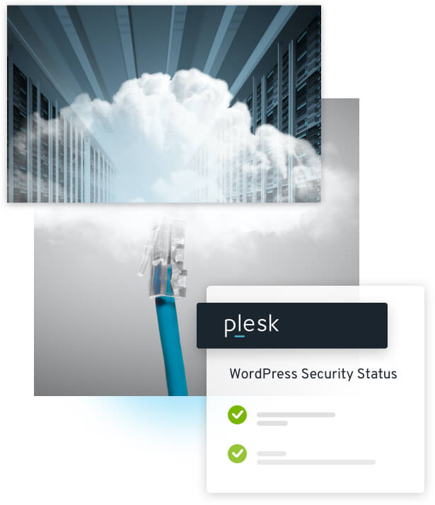 Serverrack mit Wolken, Dashboard plesk WordPress Security Status