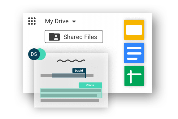 Graphical display: G Suite dashboard: MyDrive and Shared Files written out