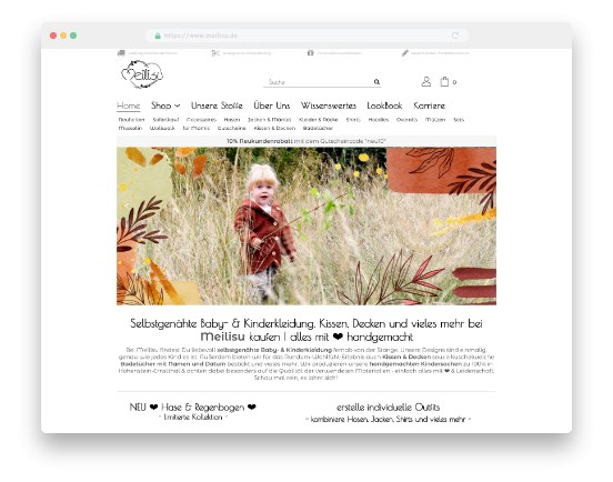 Startseite Meilisu Online-Shop für selbstgenähte Baby- & Kinderkleidung, Kissen, Decken und vieles mehr