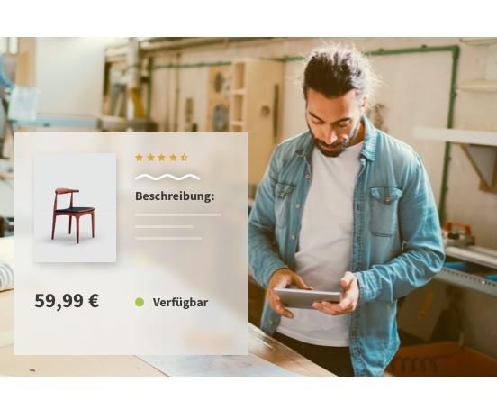 Mann mit Tablet neben Online Shop