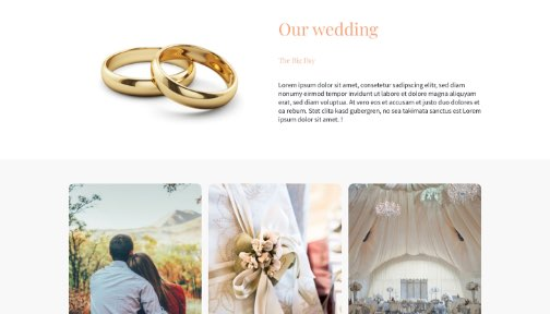 Screenshot from a wedding website; Close up photo of a wedding ring