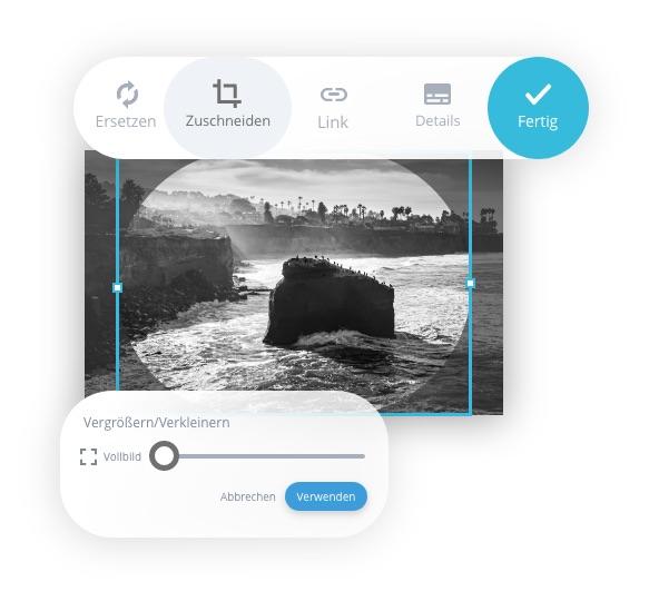 MyWebsite Now Bilder bearbeiten und zuschneiden
