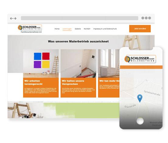 Testimonial Maler Text Media DE Website Mockup